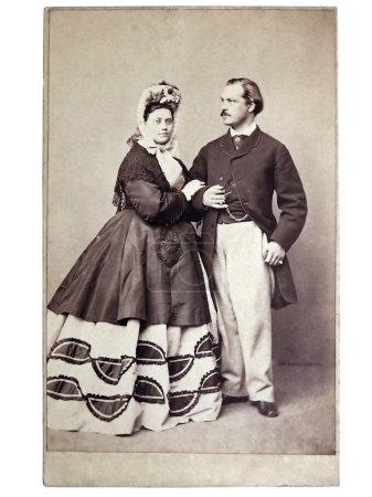 Photo pour Ancienne photo rétro sur le fond de la famille - image libre de droit