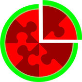 Vector Abstract cherry puzzle in color 16