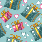 Vector Seamless ornament with gift box set in color 95