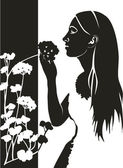 Girl with flower in black 04