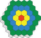 Hexagonal 3d pattern in color 02