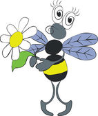VectorBee with flower in color 02