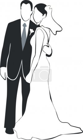 Illustration for Vector. Wedding couple silhouette 02 - Royalty Free Image