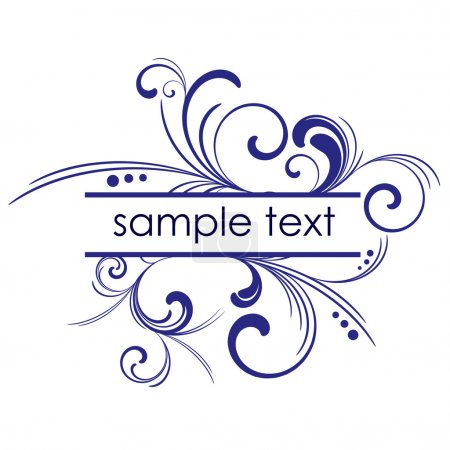 Illustration for Blue vector frame with floral patterns and place for text - Royalty Free Image