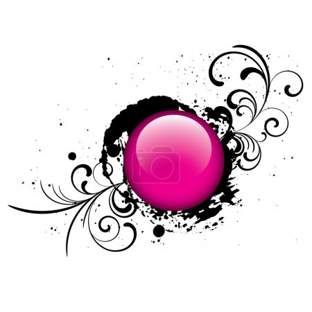 Pink grunge glossy vector button