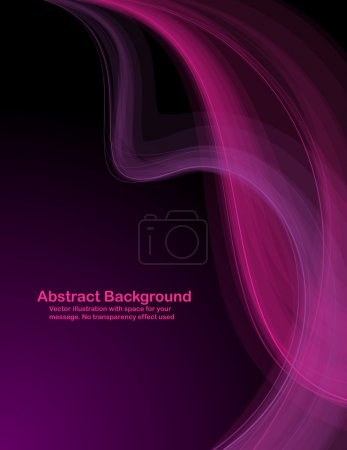 Illustration for Abstract pink and purple transparent waves on dark background. Vector illustration. - Royalty Free Image