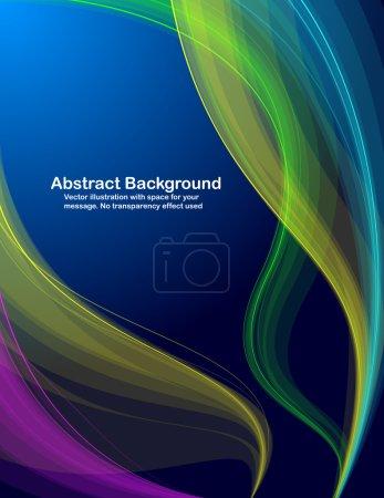 Illustration pour Ondes transparentes colorées abstraites sur fond bleu. Illustration vectorielle en couleurs RVB . - image libre de droit