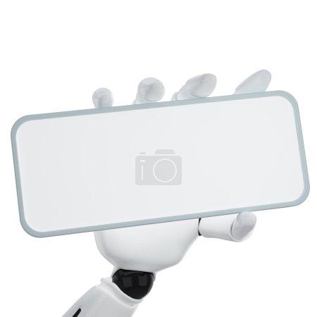 Photo pour La main robotique 3d tenir vierge signe de mettre votre mot ou votre logo - image libre de droit