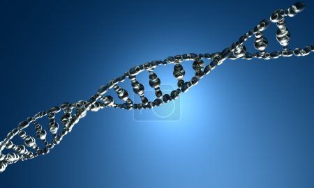 Photo for 3D render of DNA strands on the blue background - Royalty Free Image