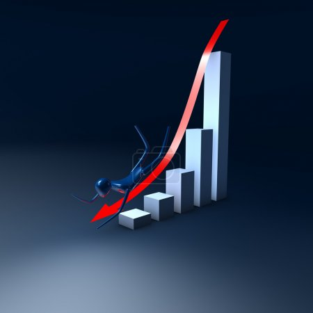 Photo for The arrow with man on the graph going down - Royalty Free Image