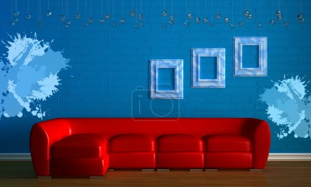 Red couch with empry frames in minimalis