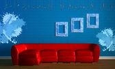 canapé rouge avec des cadres empry dans minimalis