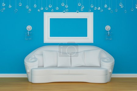 Photo for Sofa with sconces and empty frame - Royalty Free Image