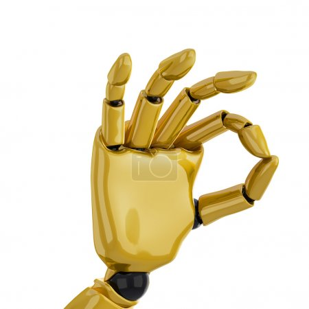 """Foto de Una mano robótica 3d dando la señal de """"OK"""". incluyendo el trazado de recorte. - Imagen libre de derechos"""
