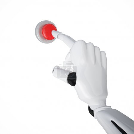 Photo for Robotic hand pushing the button. Including clipping path - Royalty Free Image
