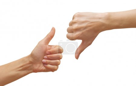 Photo for Isolated thumbs up and thumbs down - Royalty Free Image