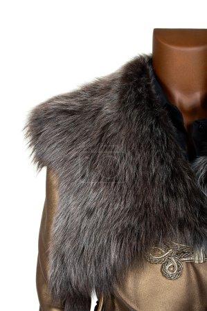 Photo pour Manteau avec un col en fourrure sur fond blanc - image libre de droit