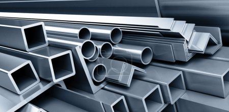 Photo for Background metallic pipes, corners, types - Royalty Free Image