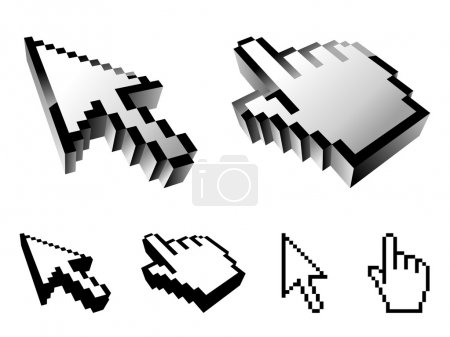 Illustration for Set of 6 cursor designs, isolated on white background. - Royalty Free Image