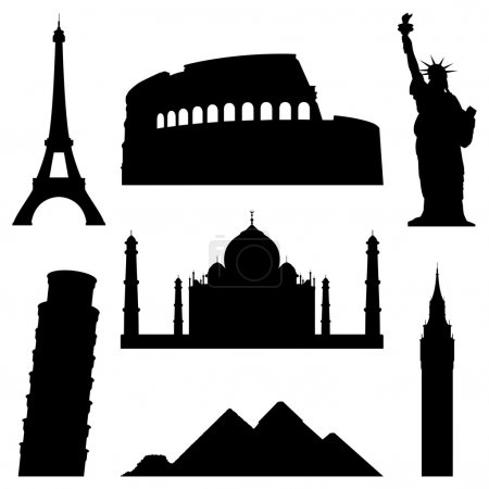 Photo for Set of 7 silhouettes of world's famous places. - Royalty Free Image