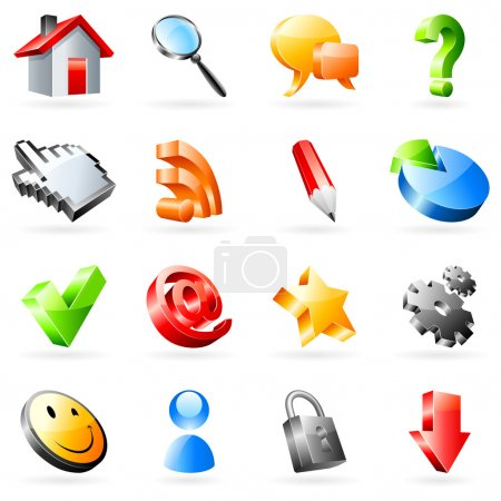 Illustration for Set of 16 vector web icons. - Royalty Free Image