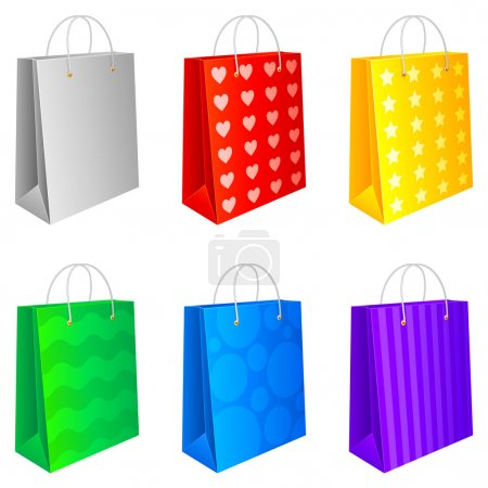 Illustration for Set of 6 colored shopping bags, isolated on white background. - Royalty Free Image