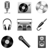 Set of 9 silver music icons isolated on white background