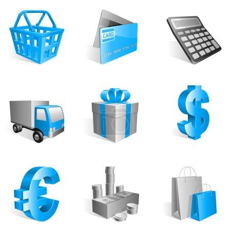 Foto de Conjunto de iconos comerciales azules 9 - Imagen libre de derechos