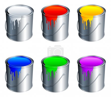 Illustration for Set of 6 paint buckets, with colour paint. - Royalty Free Image
