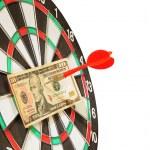 Arrow through the 10 dollars to the center of targ...