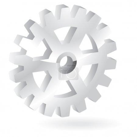 3D shiny steel gear design eleme