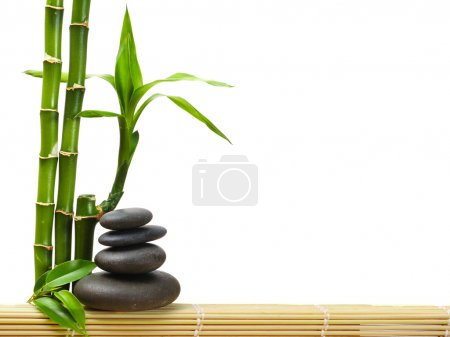 Photo pour Bambou et pierres zen - image libre de droit