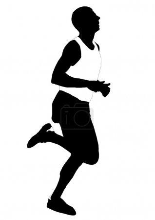 Illustration pour Silhouette hommes en cours d'exécution. Athlétisme léger - image libre de droit