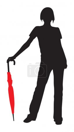 silhouette de la jeune fille avec umbrel