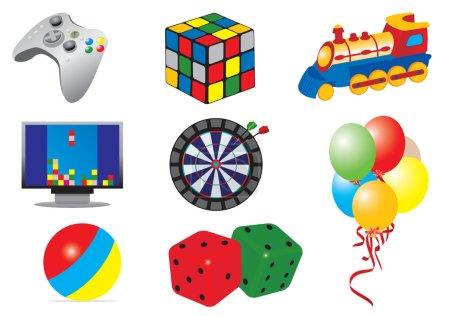 Illustration pour Jeux & jouets icônes. Illustration vectorielle pour vous design - image libre de droit