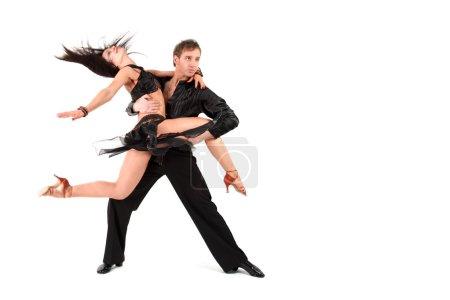 Photo pour Danseurs en action isolés sur blanc - image libre de droit