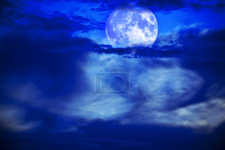 Photo for Moon night with beautiful sky and clouds - Royalty Free Image