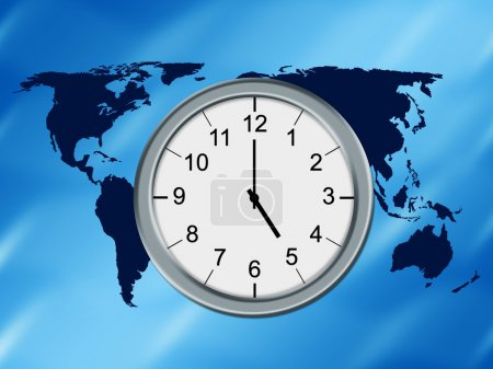 Photo for World map background and analog clock. - Royalty Free Image