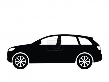Illustration pour Silhouette noire sur une voiture. Illustration vectorielle . - image libre de droit