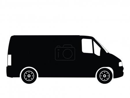 Illustration for Black silhouette on a van. Vector illustration. - Royalty Free Image