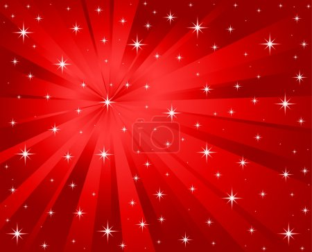 Vector red background stars and rays