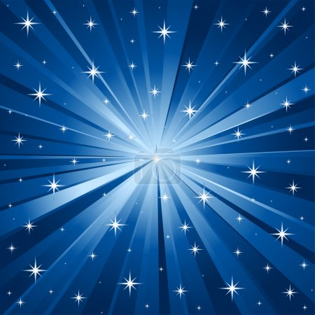 Illustration for Abstract blue vector background with stars. - Royalty Free Image