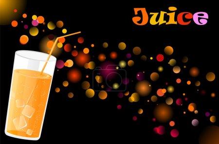 Juice cocktail on defocused lights backg