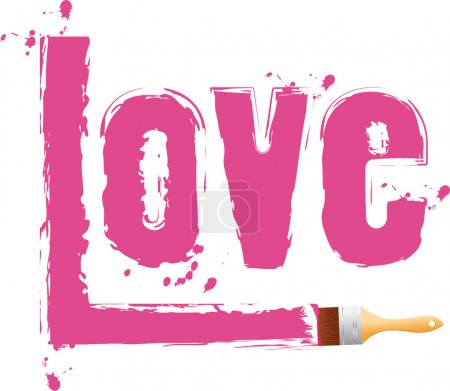 "Brush paint word ""love"""