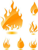 Orange glossy fire icons for your design