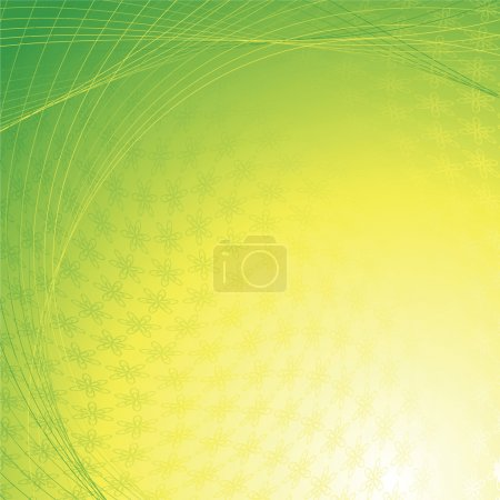 Ilustración de Abstracto fondo verde amarillo con los elementos de la flor - Imagen libre de derechos