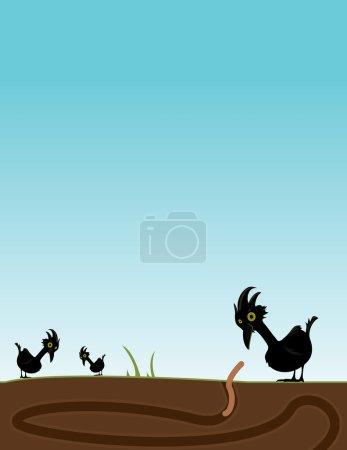 Illustration pour Oiseau noir observant un ver sortir du sol pendant que deux autres oiseaux cherchent - image libre de droit