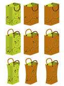 Green and brown bags with leaf and bird designs on them
