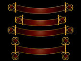Red and gold scroll banners