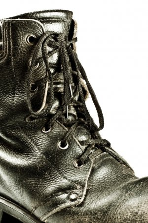 Old army style boot closeup